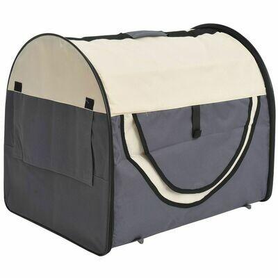PawHut® Hundetransportbox, faltbar, Größe M - 61x46x51 cm, dunkelgrau-creme