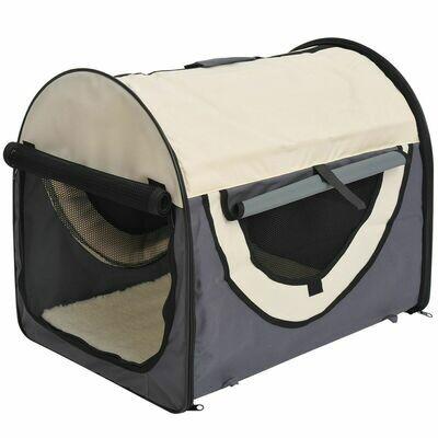 PawHut® Hundebox XXL faltbare Hundetransportbox Autokorb dunkelgrau-creme (97x71x76 cm)