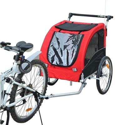 Pawhut Hundetransporter Fahrradanhänger oder Schiebewagen | 600D Oxford, Stahl | 130 x 90 x 110 cm | Rot, Schwarz