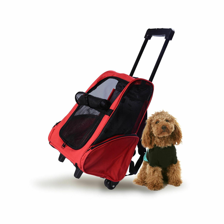 PawHut® 2in1 Hundetrolley Transporttasche Tragetasche Tiere Rucksack rot
