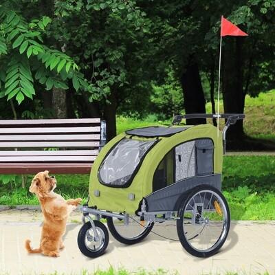 Pawhut® Haustiertransporter Fahrradanhänger oder Schiebewagen | 600D Oxford, Stahl | 130 x 90 x 110 cm | Grün, Grau