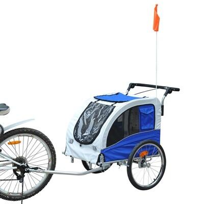 Pawhut Hundetransporter Fahrradanhänger oder Schiebewagen | 600D Oxford, Stahl | 130 x 90 x 110 cm | Grau, Blau