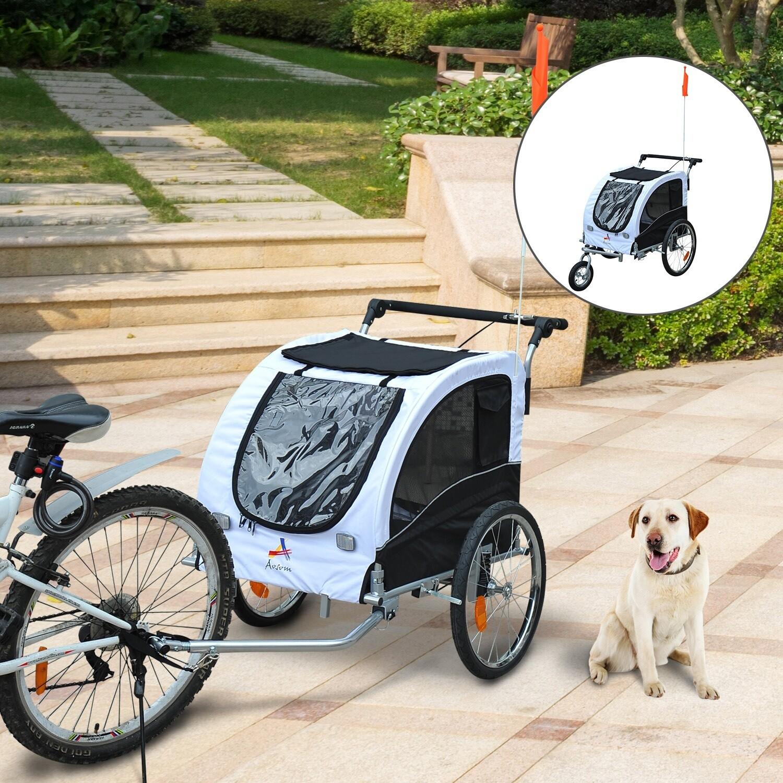 Pawhut Hundetransporter Fahrradanhänger oder Schiebewagen | 600D Oxford, Stahl | 130 x 90 x 110 cm | Weiß, Schwarz