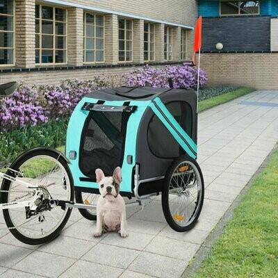 PawHut® Fahrradanhänger Haustier Hundeanhänger Jogger Wetterschutz Grün Oxfordstoff Atmungsaktiv 130 x 73 x 94 cm