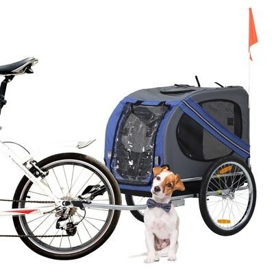 PawHut® Fahrradanhänger Hundeanhänger Haustier Jogger Wetterschutz Blau Oxfordstoff Atmungsaktiv 130 x 73 x 94 cm