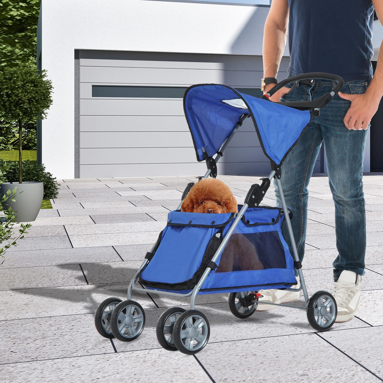 PawHut® Hundebuggy Hundewagen mit Sonnendach Stahl Blau
