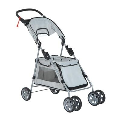 PawHut® Hundebuggy Hundewagen mit Sonnendach Stahl Grau