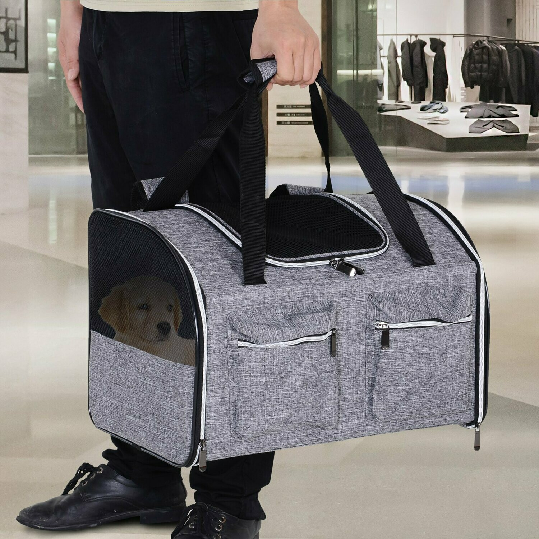 PawHut® Haustierrucksack Reisetasche Transporttasche 3 Eingang Festgurte Oxfordstoff 32 x 26 x 42 cm