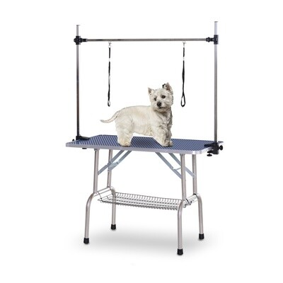 PawHut® Tierpflegetisch Trimmtisch Faltbar Schertisch Korb Verstellbare Stange Edelstahl 107 x 60 x 170 cm