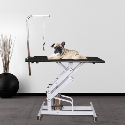 Pawhut Hundetrimmtisch mit Halteschlinge| Metall, Gummi | Tischhöhe 55–92 cm | Silber und Schwarz
