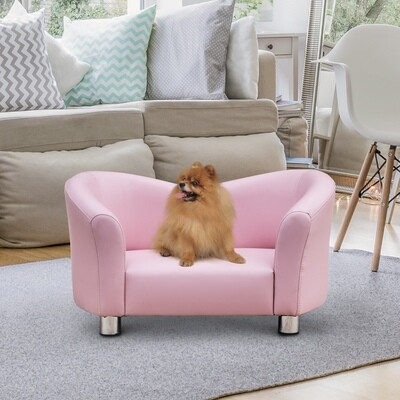 PawHut® Hundebett Hundesofa Hundecouch Kunstleder Luxus Katzen Sofa Haustier Rosa