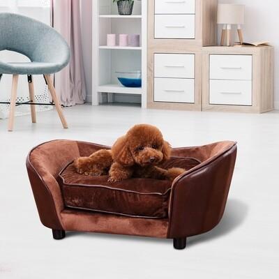 PawHut® Hundematte Hundebett Hundesofa mit Kissen Rückentasche Kaffeebraun