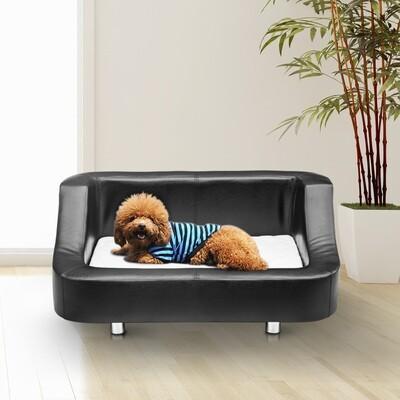 PawHut® Luxus Hundesofa Hundebett Kunstleder schwarz-weiss
