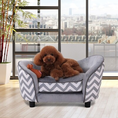 PawHut® Haustiersofa Hundebett Hundesofa mit Kissen Grau
