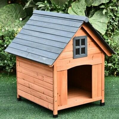 PawHut® Hundehütte Hundehaus Hundehöhle Wasserfest für Aussenbereich Massivholz Natur 81,3 x 91,5 x 98,5 cm