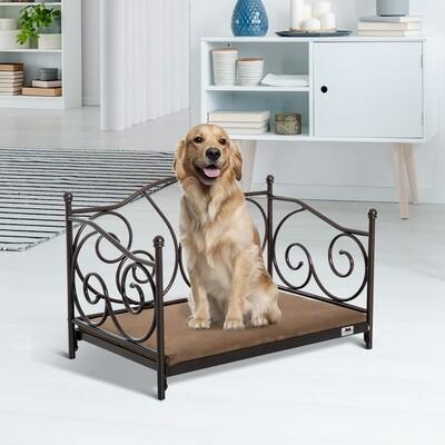 PawHut® Hundeliege Hundebett Katzenbett Haustierbett Hundesofa mit Kissen Braun