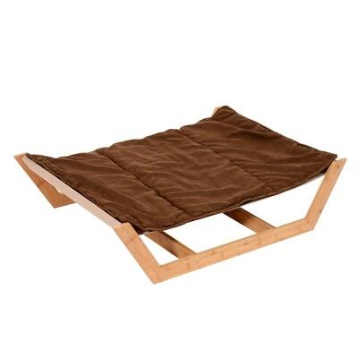 PawHut® Hundeliege XL mit Kissen Bambus Kaffeebraun