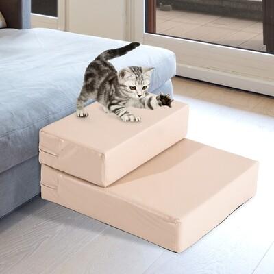 PawHut® Tiertreppe Hundetreppe Katzentreppe Unterlage für Haustier Klappbar Gelbbraun