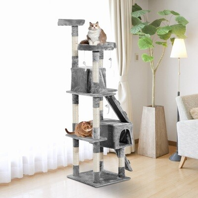 PawHut® Katzenbaum Kratzbaum Katzenkratzbaum Kletterbaum Sisal Treppe Beige Grau 170 cm
