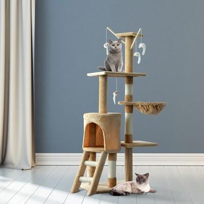 PawHut® Katzenbaum Kratzbaum Katzenkratzbaum Kletterbaum 4 Spielzeug Beige