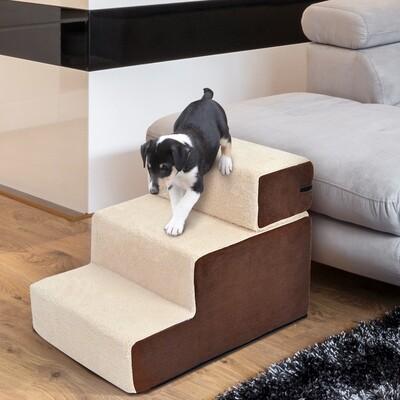 PawHut® Hundetreppe Haustiertreppe | Einstiegshilfe | 54 x 40 x 39cm | Beige