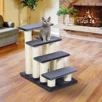 PawHut® Katzentreppe Tiertreppe Hundetreppe Treppe für Katze und Hunde grau