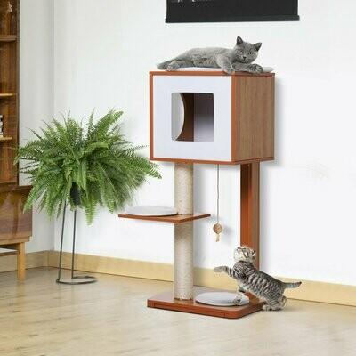 PawHut® Kratzbaum Katzenbaum Katzenmöbel mit Höhle & Sisalpfosten 4 Kissen MDF 50 x 40 x 91 cm