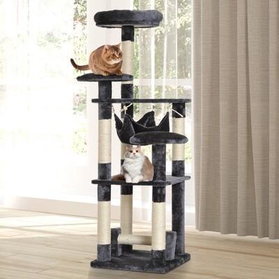 PawHut® Kratzbaum für Katzen | Spanplatte, Sisalfaser, Plüsch | 40 x 40 x 132 cm | Grau