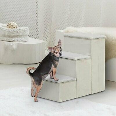 PawHut® Haustiertreppe Katzentreppe Einstiegshilfe Faltbar mit Innenstauraum MDF Weiss 40 x 54 x 48 cm