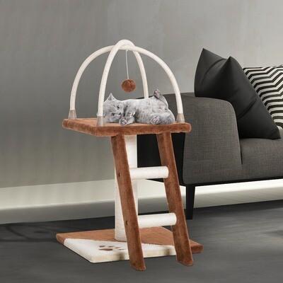 PawHut® Katzenbaum Kletterbaum Spielbaum Katzenbett mit Leiter und Ball Braun