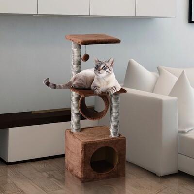 PawHut® Katzenbaum Schlafhöhle Katzenkratzbaum Spielbaum 3 Schichten Braun