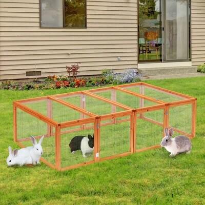 PawHut® Freigehege Kaninchenstall Tannenholz Natur