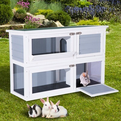 PawHut® Hasenstall Hasenkäfig Kaninchenstall Kaninchenkäfig Kleintierstall 2 Ebenen