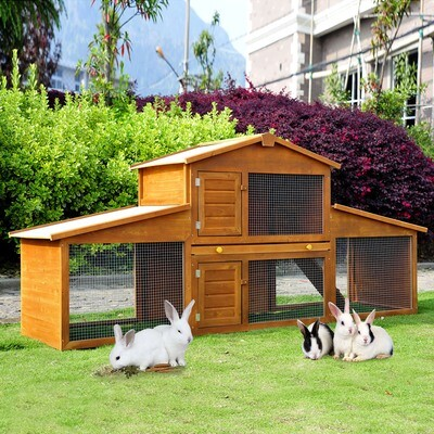 PawHut® Kaninchenstall Hasenstall Kaninchenkäfig Hasenkäfig mit Tablett Holz