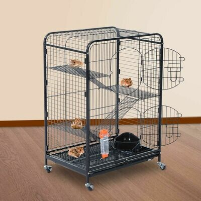 PawHut® Nagerkäfig, Kleintierkäfig, 4-Stöckiger Hamsterkäfig, Schubfach, Rollbar, Metall, 64 x 44 x 93 cm