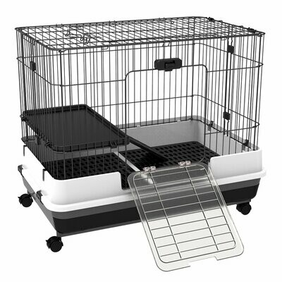 PawHut® Hasenkäfig Kaninchenstall 2 Öffnungen mit Plattform Bodenfach Metall 81,2 x 52,7 x 66 cm