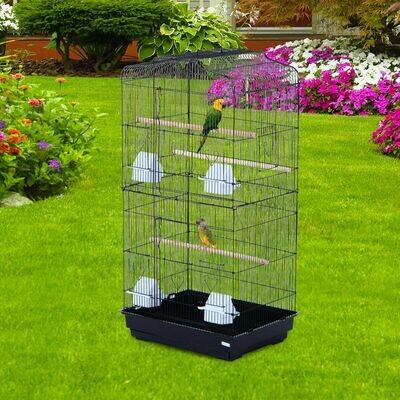 PawHut® Vogelhaus Vogelkäfig Vogelvoliere für Papagei Wellensittich Vogelbauer mit ausnehmbarer Bodenschale Schwarz 47,5 x 36 x 91 cm