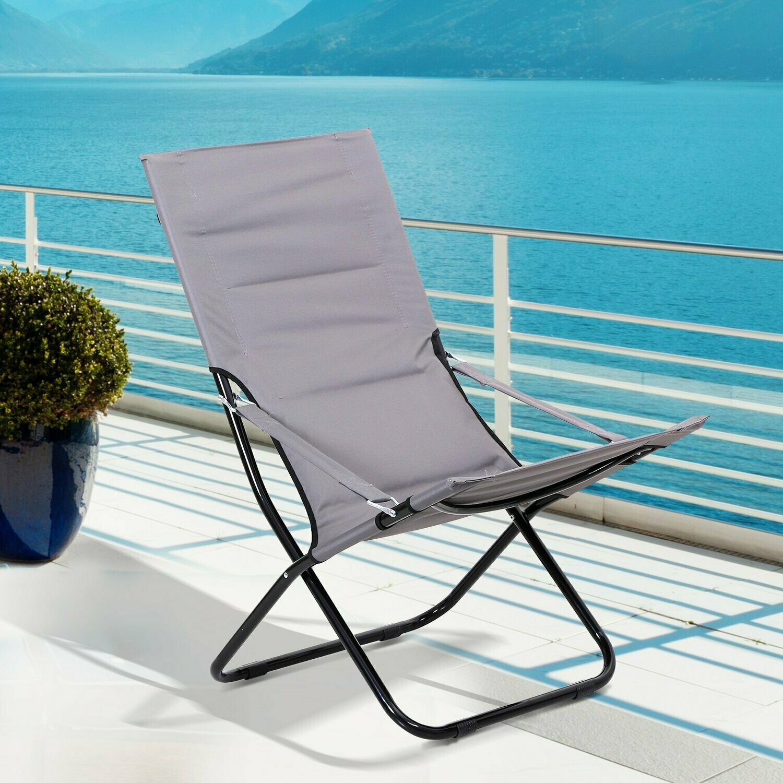 Outsunny® Klappstuhl Campingstuhl Gartenstuhl Polstersessel Strand Balkon faltbar Grau 86 x 61 x 94 cm