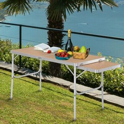 Outsunny® Campingtisch Klapptisch Picknicktisch Höhenverstellbar Extra Tischplatte Alu 120 x 60 x 40/70 cm