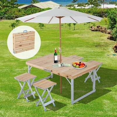 Outsunny® Holz 5tlg Campingtisch Set Picknick Koffertisch Alu