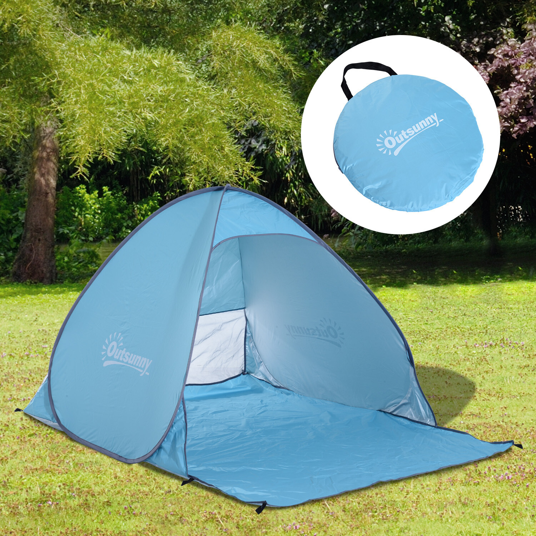 Outsunny® Wurfzelt Blau Pop Up Zelt Strandmuschel Strandzelt Campingzelt