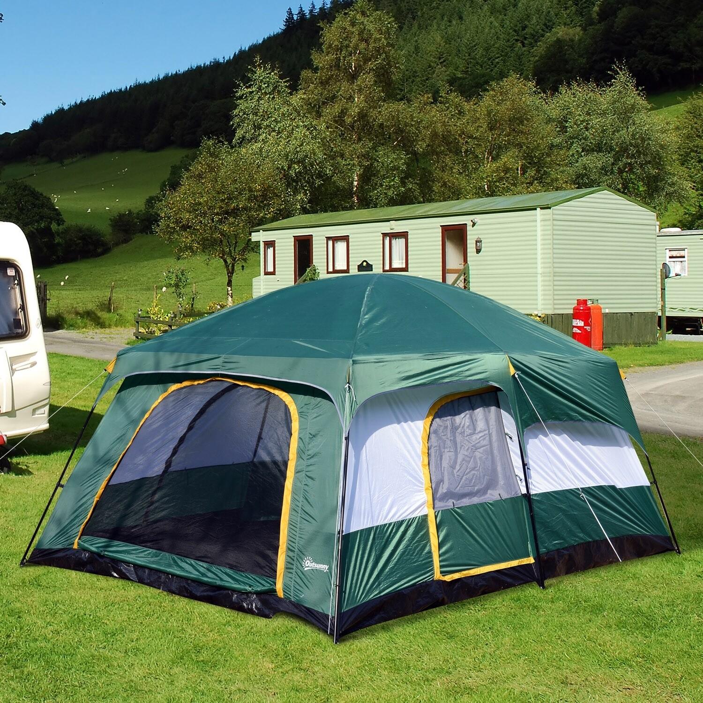 Outsunny® Campingzelt Kuppelzelt 4-8 Personen Grün L410 x B310 x H225cm
