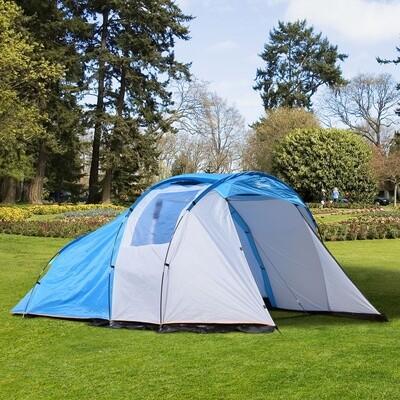 Outsunny® Campingzelt Kuppelzelt Blau L375 x B240 x H150cm