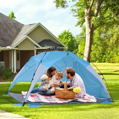 Outsunny® Automatik Strandmuschel Pop up Zelt Outdoor mit Boden Fenster Tragetasche 3–4 Personen 250 x 250 x 155 cm