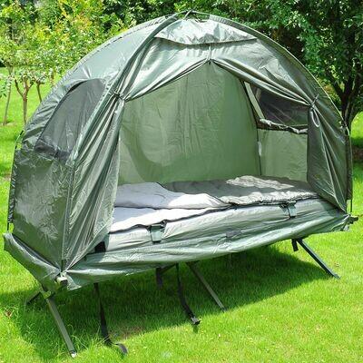 Outsunny® Campingbett Set mit Zelt Schlafsack Matratze 4 in 1 faltbar Dunkelgrün