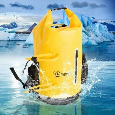 Outsunny® Wasserdichter Rucksack Tasche Beutel Packsack mit Handybeutel 30L Gelb