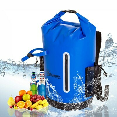 Outsunny® Wasserdichter Rucksack Tasche Beutel Packsack mit Handybeutel 30L Blau