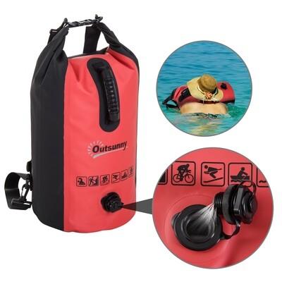 Outsunny® Wasserdichter Rucksack Tasche Beutel Packsack mit Handybeutel 20L Rot