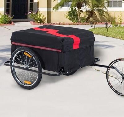 HOMCOM Velo-Anhänger Transportanhänger für Fahrräder | Universalanhänger | Lastenanhänger | 140 x 88 x 60cm | Rot und Schwarz