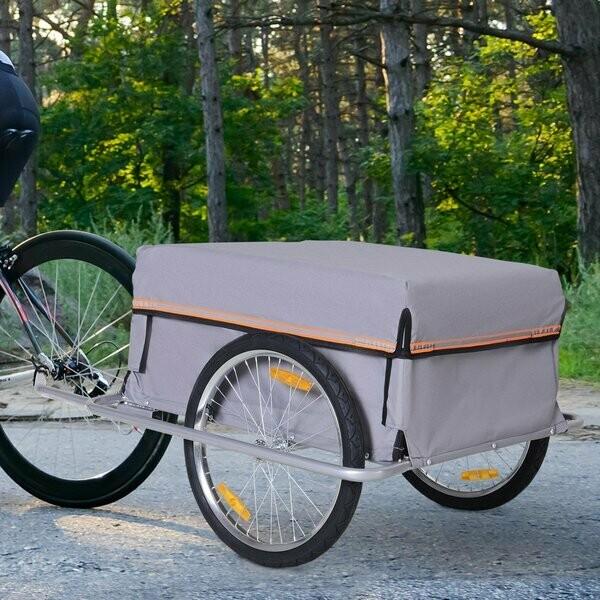 HOMCOM® Velo-Anhänger Transportanhänger Lasten-Fahrradanhänger Fahrrad Faltbar CargoTrailer Grau